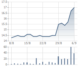 Giá cổ phiếu VSH 1 tháng qua