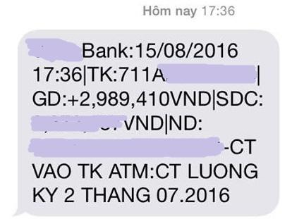 Lương của 1 cán bộ ngân hàng trong tháng 7, chi trả làm 2 lần