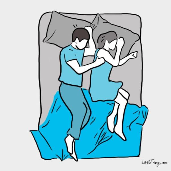 """Tư thế úp thìa """"lỏng"""": Giống như tư thế trên, nhưng hai người có khoảng cách. Các cặp vợ chồng mới cưới thường có sự gắn kết thân thể với nhau nên thường nằm sát. Nhưng khi mối quan hệ trưởng thành hơn, tư thế không còn giống ban đầu và họ dần tách nhau ra. Tuy nhiên, ngủ theo tư thế này không phải cuộc hôn nhân của bạn đang có vấn đề mà đơn giản, người bạn đời đang tìm tư thế ngủ ngon nhất. Nó cho thấy sự tin tưởng sau một thời gian chung sống đủ để họ dành cho nhau không gian riêng."""