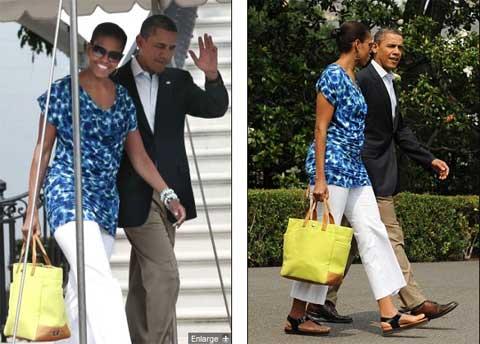 Bà Obama không ngần ngại mặc những trang phục có giá rẻ được mua từ các cửa hiệu như J.Crew và Gap, H&M. Chiếc áo bà đang mặc thuộc hãng H&M có giá chỉ 29,9 USD.