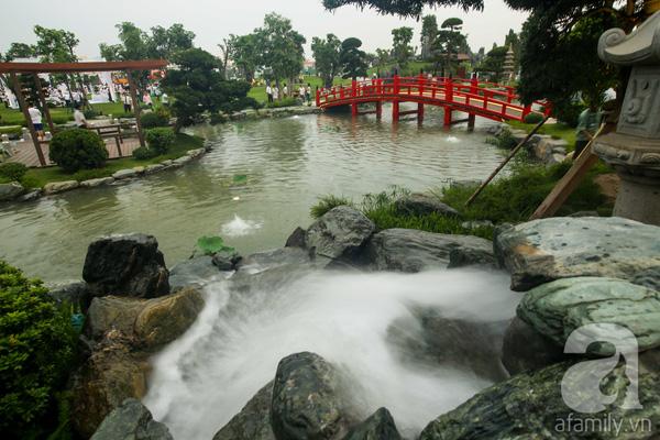 Một khu vườn kiểu Nhật Bản với các loại cá cùng tiểu cảnh hòn non bộ.