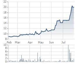 Diễn biến giá cổ phiếu DTL trong 6 tháng qua.