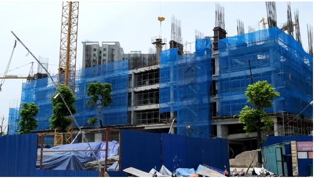 Tòa 32T đang được xây dựng cột tầng 6.