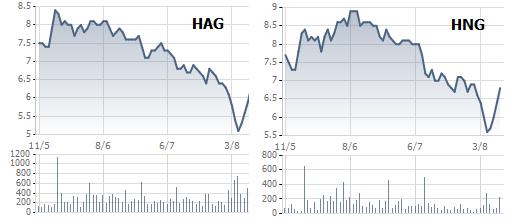 Diễn biến cổ phiếu HAG và HNG 3 tháng qua