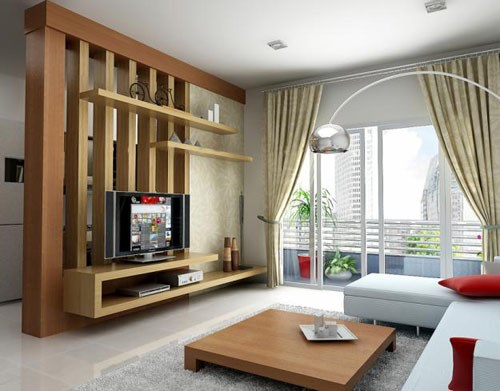 Tận dụng vách ngăn làm nơi treo tivi sẽ giúp tiết kiệm không gian cho ngôi nhà.