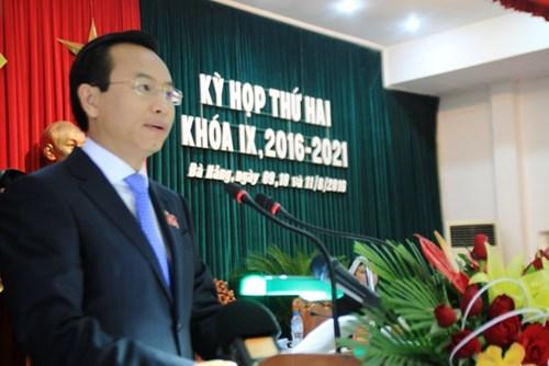 Ông Nguyễn Xuân Anh, Bí thư Thành ủy, Chủ tịch HĐND TP Đà Nẵng phát biểu khai mạc kỳ họp vào sáng ngày 9/8