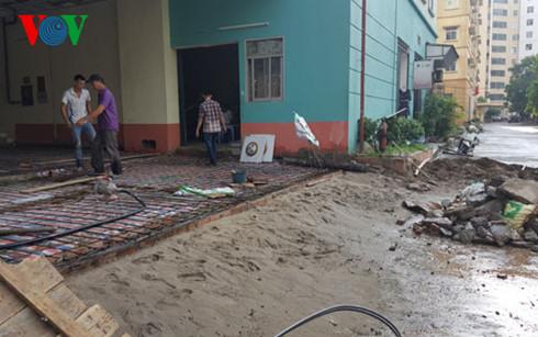 Sàn tầng 1 chung cư N5 Đồng Tàu đã được sửa chữa lại sau vụ sập.