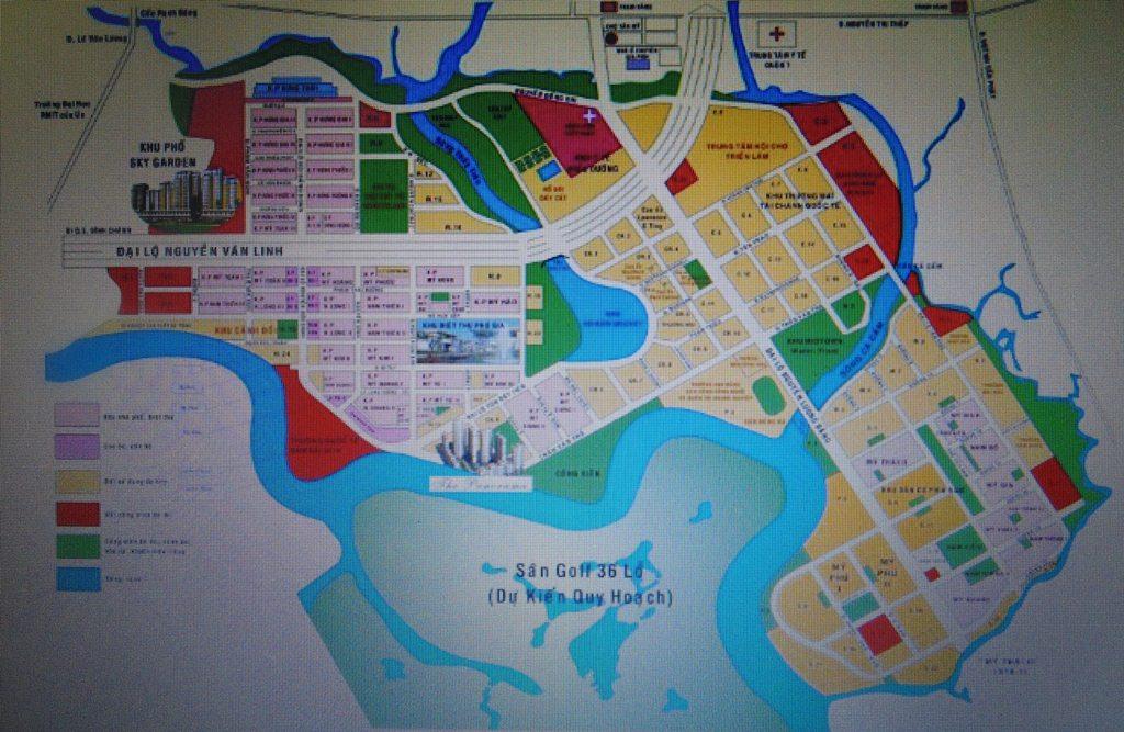Tổng thể quy hoạch KĐT Phú Mỹ Hưng.
