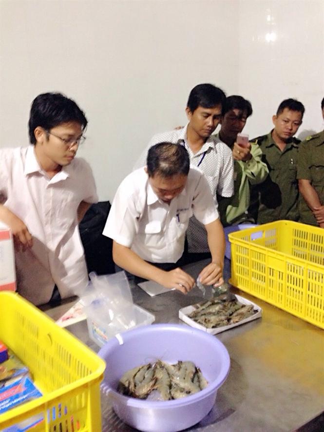 Cơ quan chuyên ngành kiểm tra và phát hiện mẫu tôm của Cty Quốc Ái có chứa tạp chất