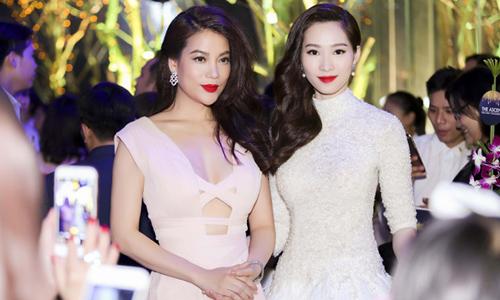Diễn viên Trương Ngọc Ánh và hoa hậu Thu Thảo cùng xuất hiện trong một đêm tiệc tri ân khách hàng của công ty bất động sản.
