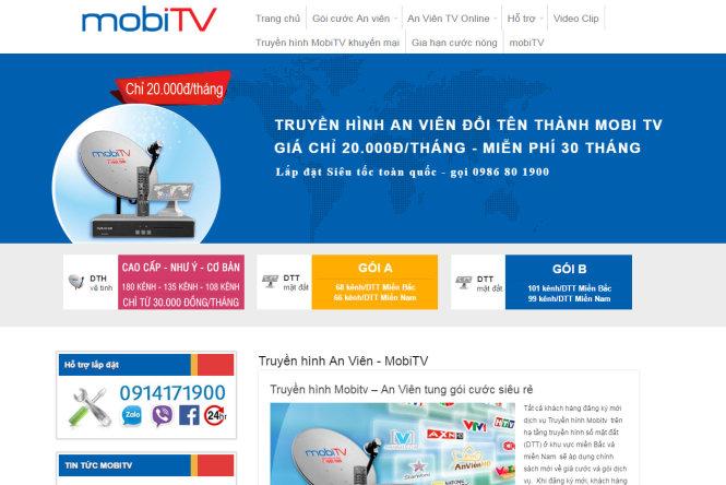 Quảng cáo MobiTV trên trang web anvientv.net
