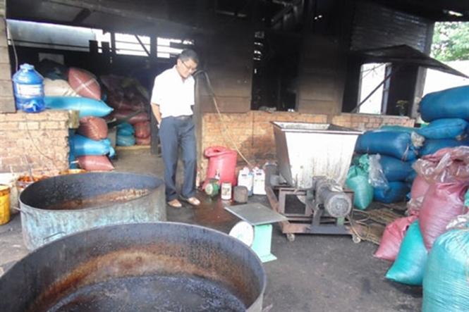 Một cơ sở chế biến cà phê bẩn