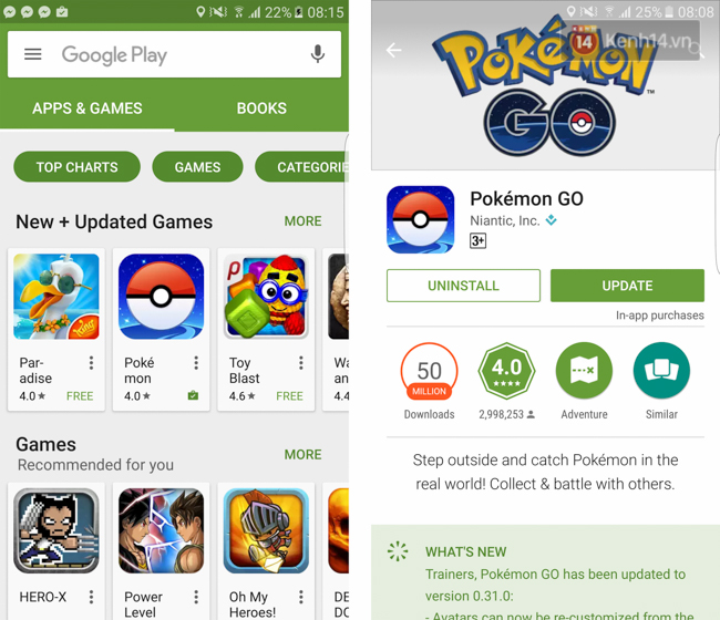 Google Play bất ngờ xuất hiện Pokémon GO.