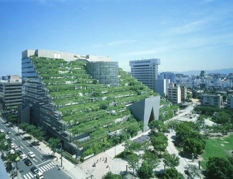 Tòa nhà ACROS - ốc đảo xanh giữa lòng thành phố Fukuoka, Nhật Bản. Toàn bộ hệ thống mái của toà nhà được phân cấp thành những khu vườn bậc thang, có khoảng 35.000 cây thuộc 76 loài được trồng ở 15 vườn bậc thang dọc công trình này.