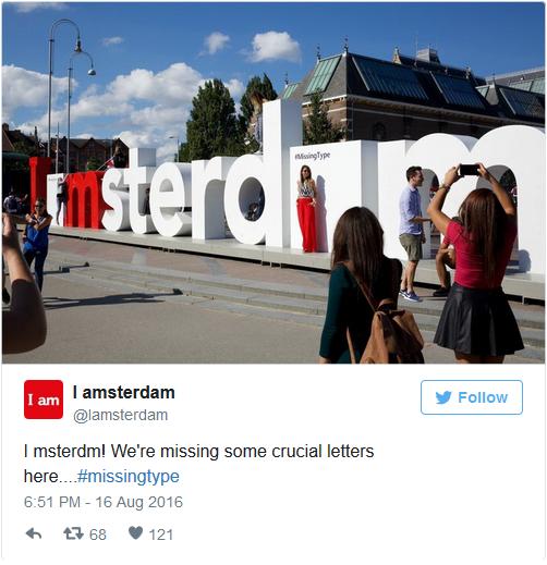 Chữ A trong I amsterdam được biến thành các ô vuông.