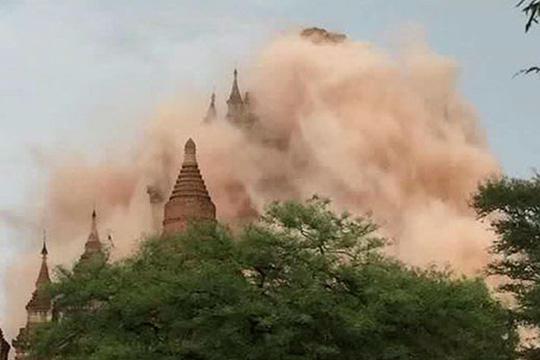 Hơn 100 công trinh chùa chiềng ở Myanmar bị hư hại. Ảnh: EPA