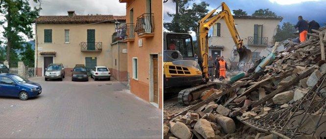 Một khu nhà ở Amatrice trước và sau động đất - Ảnh: GOOGLE/REUTERS