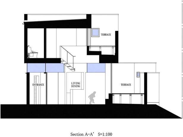 Mặt cắt của căn nhà.