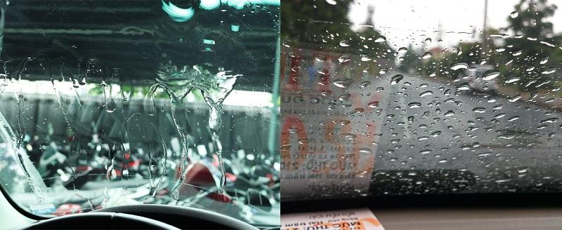 Kính lái trước và sau khi được làm sạch.