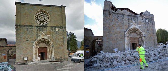 Nhà thờ ở Amatrice trước và sau động đất - Ảnh: GOOGLE/AFP