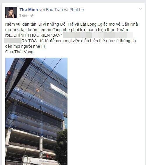 Thu Minh đăng đàn tố chủ đầu tư dự án penthouse mà cô đã đặt tiền mua