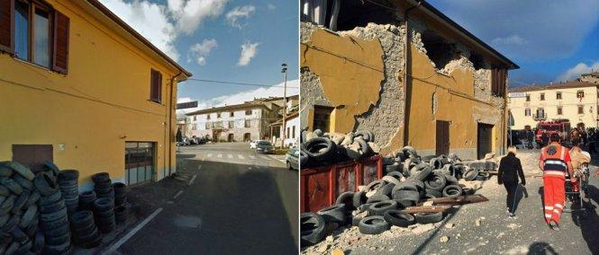 Nhà cửa trên một đoạn đường ở Pescara del Tronto bị hủy gần như hoàn toàn sau động đất - Ảnh: GOOGLE/EPA