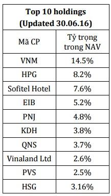 Top 10 cổ phiếu chiếm tỷ trọng lớn nhất trong danh mục của VOF tại thời điểm 30/6