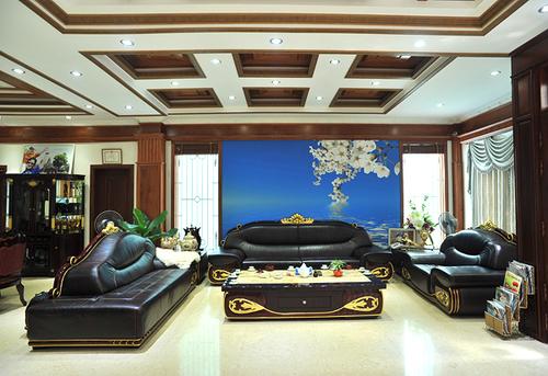 Phòng khách vô cùng sang trọng với bộ salon có thiết kế lạ mắt. Để rinh được bộ salon này về nhà vợ chồng Trang Nhung đã phải mất rất nhiều công sức và tiền của. Trần nhà phòng khách cũng được thiết kế hết sức cầu kỳ.