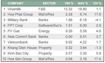 Top 10 cổ phiếu có tỷ trọng lớn nhất trong danh mục của VEIL
