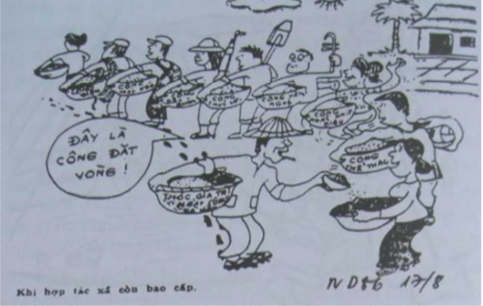 Ăn chia theo công điểm trong HTX (trong đó có những loại công như công văn nghệ,công nhảy nhịp điệu, công tập thể thao và cả công cho người đi đặt vòng) (Báo Nhân dân, ngày 17/08/1986)