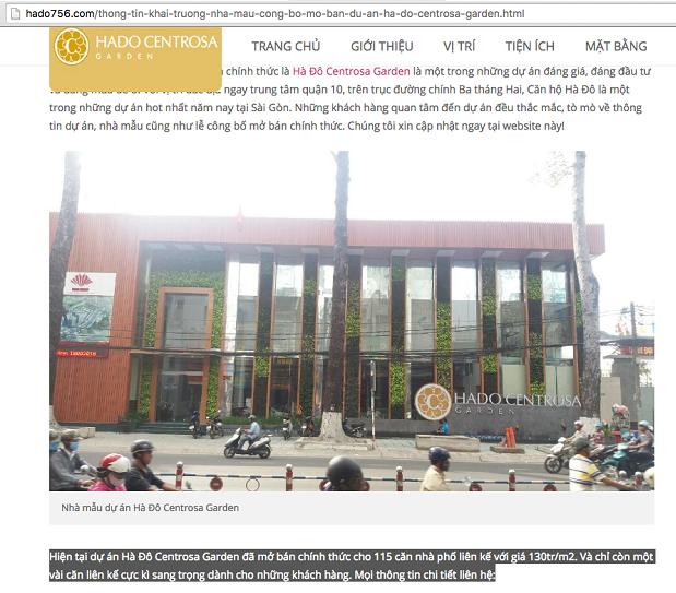 Ngay trên trang web này, thông tin vẫn rao là hiện tại dự án đã mở bán chính thức 115 căn nhà phố liền kề...