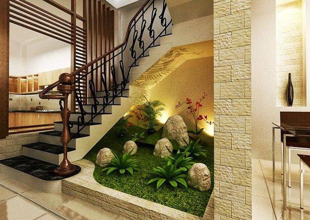 Tùy theo diện tích gầm cầu thang rộng hay hẹp mà bạn có thể lựa chọn cách trang trí cho hợp lý