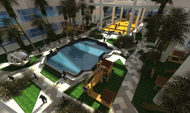 Mỗi khoảng sân giống như một ốc đảo nhỏ với đầy đủ bể bơi, nơi đi dạo, sân vui chơi.