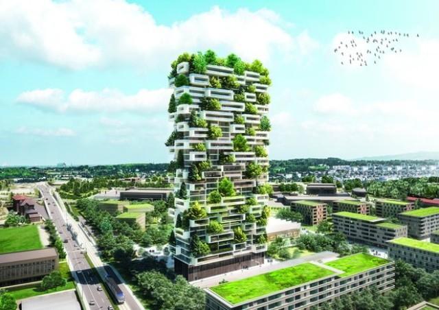 Tòa nhà có diện tích 3.000m2 được bao phủ bởi 100 cây lớn, 6000 cây bụi và 18.000 cây thực vật nhỏ.