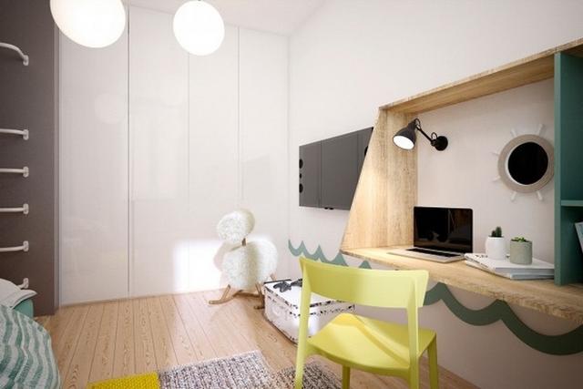 Phòng ngủ cho bé yêu sử dụng nhiều màu sắc hơn tất cả các phòng khác nhưng ở mức độ sáng nhạt, tạo sự nhẹ nhàng, ấm cúng.