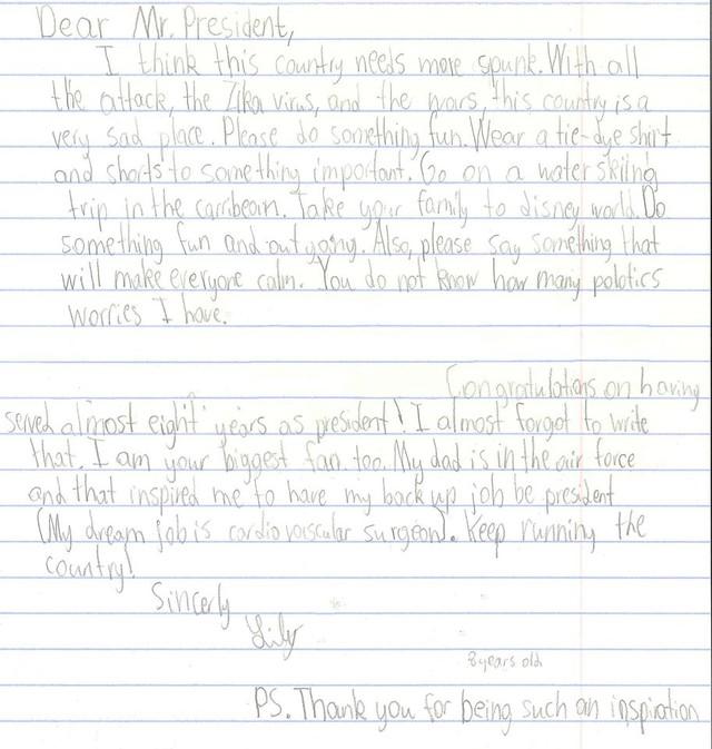 Hình ảnh bức thư của cô bé Lily 8 tuổi gửi Tổng thống Obama.