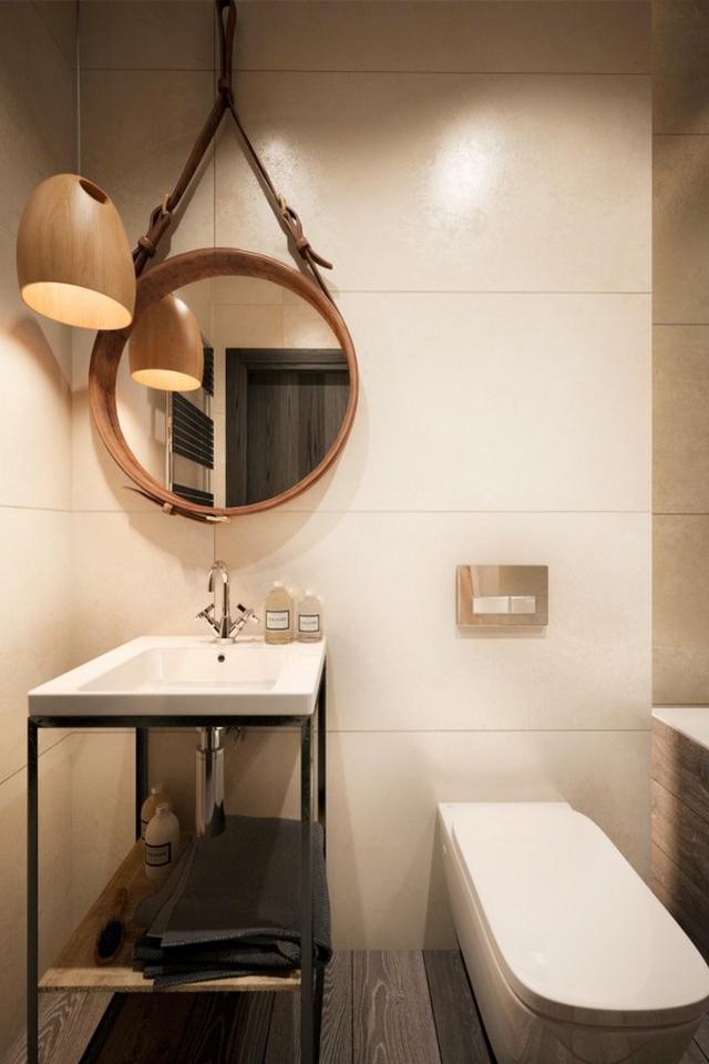 Nhà tắm mang đậm phong cách công nghiệp với sự kết hợp giữa tường bê tông và gỗ lát