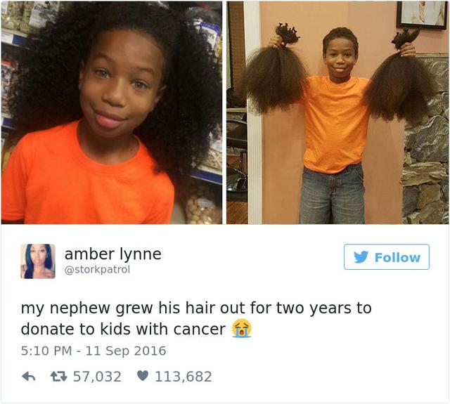 Bức ảnh chụp Thomas trước và sau khi cắt tóc được cô Lynne đăng tải trên Twitter.