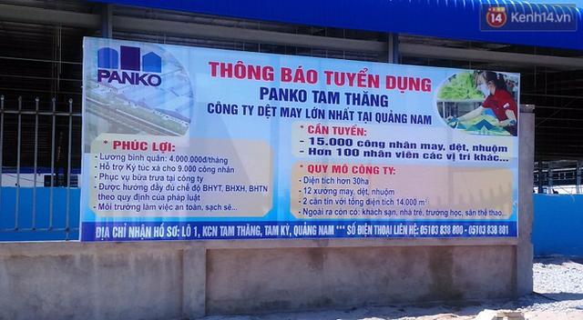 Bảng thông báo tuyển dụng của công ty dệt may Panko Tam Thăng.