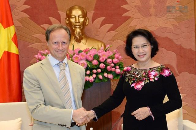 Chủ tịch Quốc hội Nguyễn Thị Kim Ngân tiếp ông Bruno Angelet Trưởng phái đoàn Liên minh châu âu tại Việt Nam