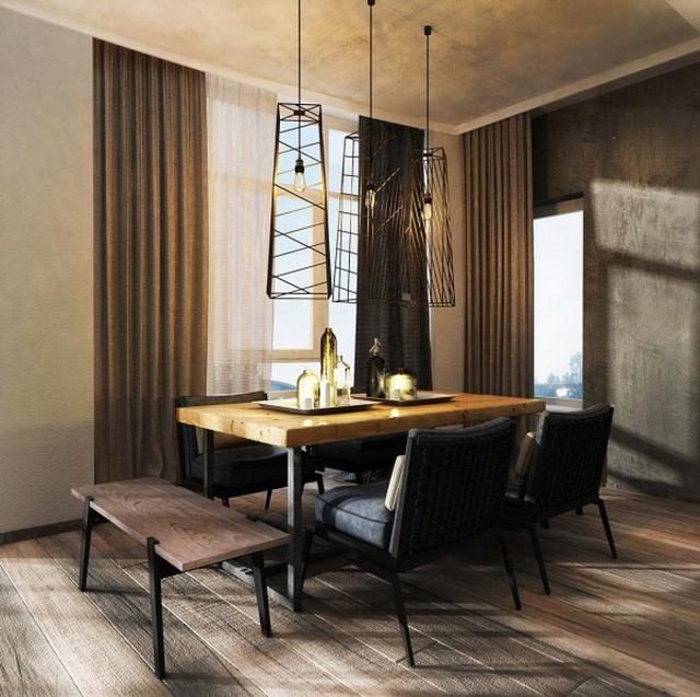 Thiết kế mở rộng khi kết hợp phòng khách và phòng bếp trong cùng một không gian.