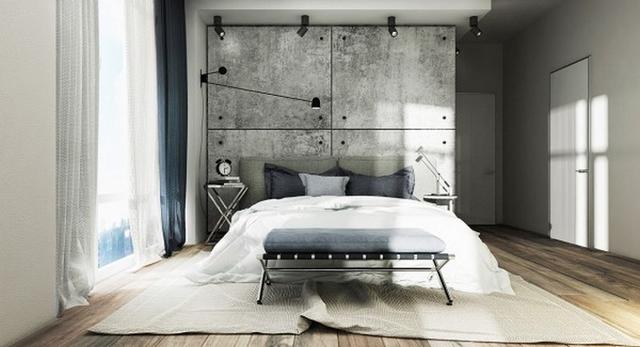 Phòng ngủ của bố mẹ rất đơn gian với gam màu trầm sạch sẽ.
