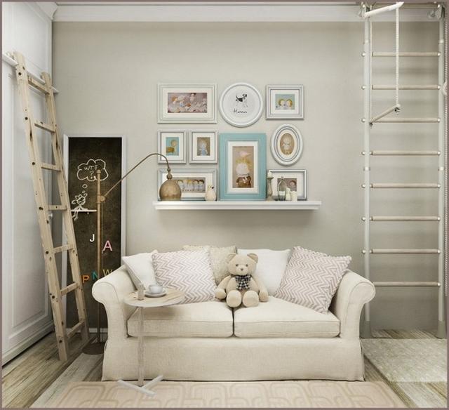 Tông trắng đơn giản nhưng không bị nhàm khi căn phòng có thêm những phụ kiện trang trí nhỏ xinh.