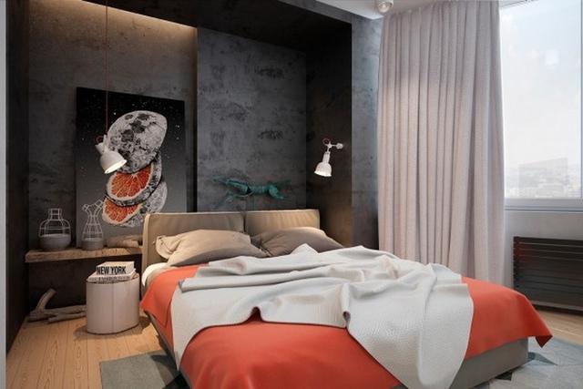 Phòng ngủ biến đổi phong cách linh hoạt với tông cam khác biệt.