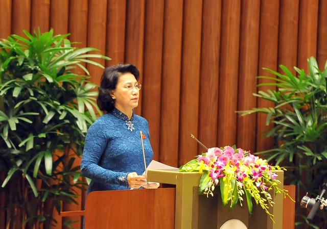 Bà Nguyễn Thị Kim Ngân phát biểu trong ngày đầu tiên khai mạc kỳ họp thứ nhất Quốc hội khóa XIV.