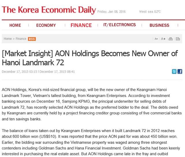 Thông tin về chủ mới tòa Landmark 72 được đăng trên Thời báo kinh tế Hankyung (Hàn Quốc)