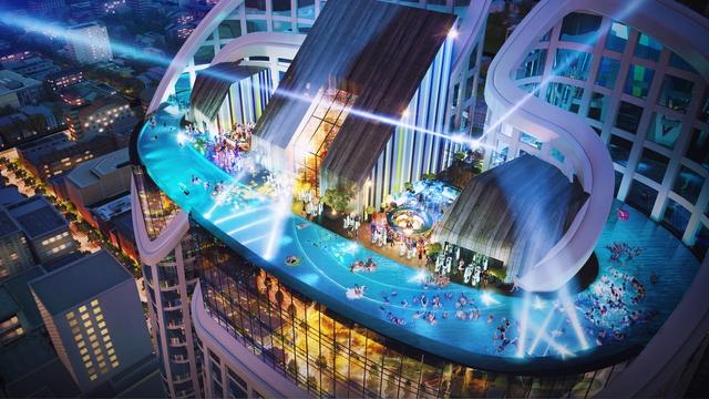 Bể bơi nước mặn vô cực đáy kính trên mái tòa tháp 39 tầng Panorama Nha Trang.