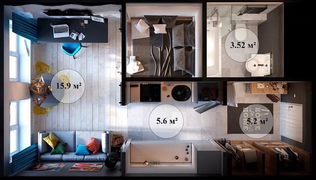 Đây là sơ đồ bố trí khoa học toàn bộ căn hộ.