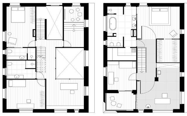 Sơ đồ bố trí tầng 1 và tầng 2 của căn nhà.