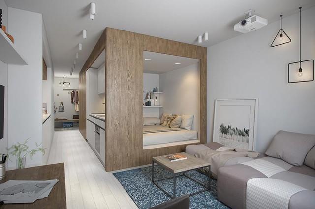 Điểm nhấn đặc biệt nhất trong căn hộ này đó chính là chiếc giường ngủ tích hợp bếp ăn. Nhờ sự vay mượn không gian được tính toán kỹ lưỡng nên dù diện tích nhỏ các phòng chức năng vẫn đầy đủ mà không hòa lẫn vào nhau.